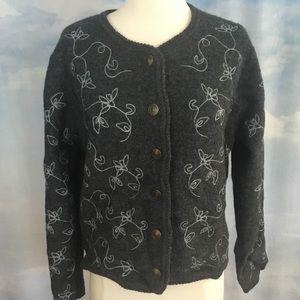 Vintage Tally Ho Gray Wool Cardigan size M
